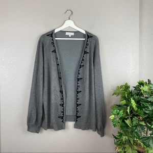 Carolyn Taylor Embroidered Open Front Cardigan